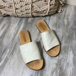 Sol Sana White Leather Slides Sandals